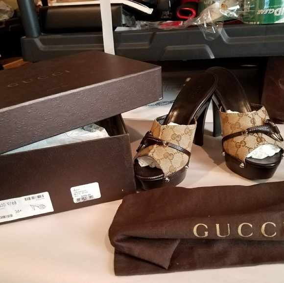 Gucci Shoes - SOLD@! GUCCI Monogram Bamb Sandals 36.5 Brown